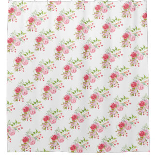 Vintage Rose Floral Country Bouquet Shower Curtain