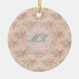 Vintage Rose Floral Double-Sided Ceramic Round Christmas Ornament