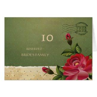 Vintage Rose Floral Green Weding Table Numbers Card