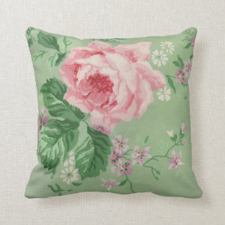 Vintage Rose Floral Pattern Throw Pillow