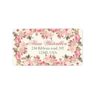 Vintage rose floral personalized address labels