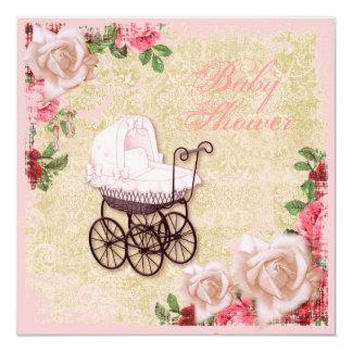 Vintage Rose Floral Pink Baby Shower Invitation