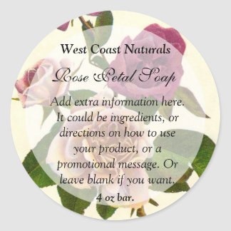 Vintage Rose Floral Soap and Bath Products Label R Classic Round Sticker