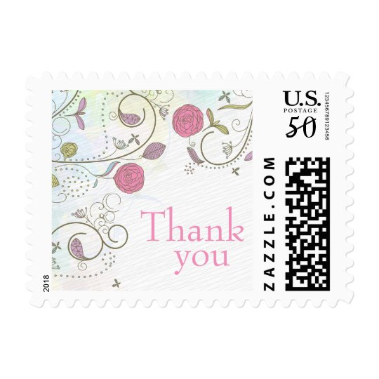 Vintage rose floral swirls wedding thanks stamps