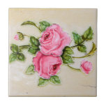 Vintage Rose Floral Tile at Zazzle