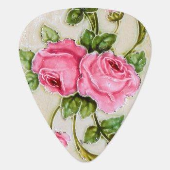 Vintage Rose Floral Tile Guitar Pick by wheresmymojo at Zazzle