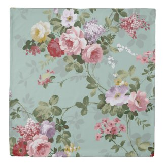 Vintage Rose Floral Wallpaper Duvet Cover