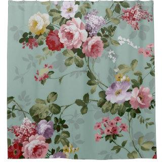 Vintage Rose Floral Wallpaper Shower Curtain