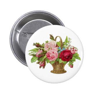 Vintage Rose Flower Basket 2 Inch Round Button