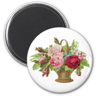 Vintage Rose Flower Basket 2 Inch Round Magnet