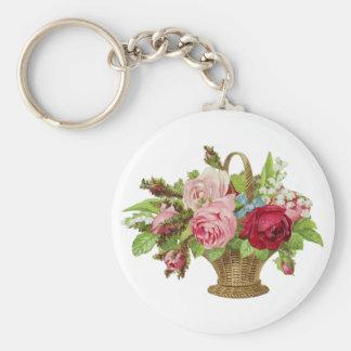 Vintage Rose Flower Basket Basic Round Button Keychain