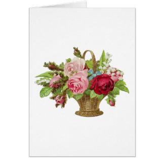 Vintage Rose Flower Basket Card