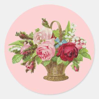 Vintage Rose Flower Basket Classic Round Sticker