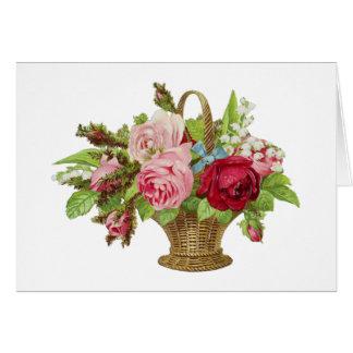 Vintage Rose Flower Basket Greeting Card