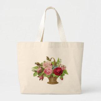 Vintage Rose Flower Basket Large Tote Bag