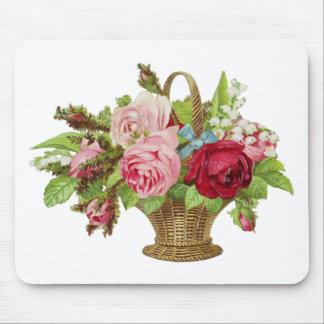 Vintage Rose Flower Basket Mouse Pad