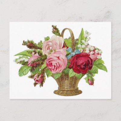 Vintage Rose Flower Basket Post Card by Flag_Maker