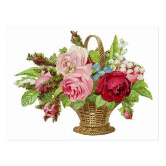 Vintage Rose Flower Basket Postcard