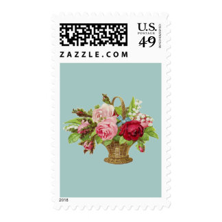 Vintage Rose Flower Basket Stamp