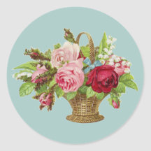Vintage Rose Flower Basket Sticker