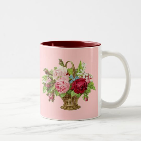 Vintage Rose Flower Basket Two-Tone Coffee Mug