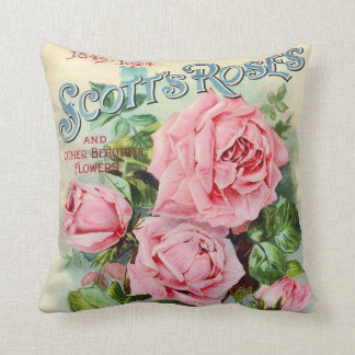 Vintage Rose Flower Catalog Cover Illustration Throw Pillow