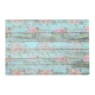 Vintage Rose Flower Distressed Wood Blue Placemat