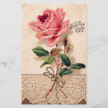 "Vintage Rose Flower Floral Pattern<br><div class=""desc"">Vintage style design,  in romantic rose flower floral pattern with lace. Perfect gift for yourself,  your loved one,  and those looking for something vintage,  country and chic.</div>"