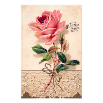 Vintage Rose Flower Floral Pattern Stationery