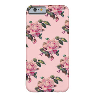Vintage Rose Flower Stems Floral Pattern on Pink Barely There iPhone 6 Case