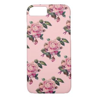 Vintage Rose Flower Stems Floral Pattern on Pink iPhone 8/7 Case