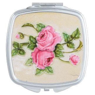 Vintage Rose Flower Tile Makeup Mirror