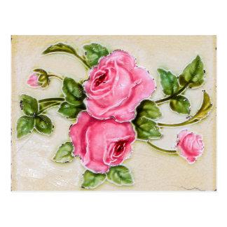 Vintage Rose Flower Tile Postcard