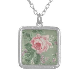 Vintage Rose Flower Wallpaper Square Pendant Necklace