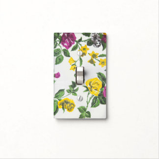 Vintage  rose flowers leaves floral pattern light switch plate