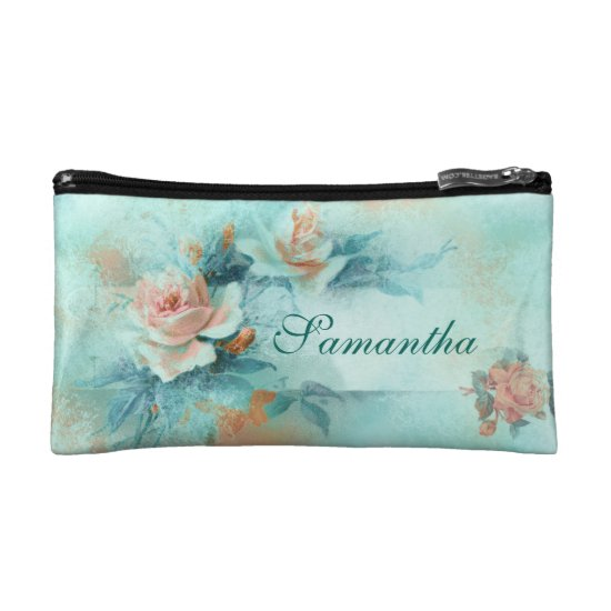Vintage rose flowers PERSONALIZE name Cosmetic Bag