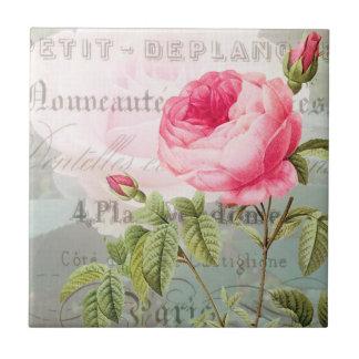 Vintage Rose French Accent Ceramic Tile