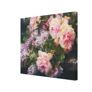 Vintage Rose Garden Cascade Wrapped Canvas Print