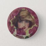 Vintage Rose Girl Button