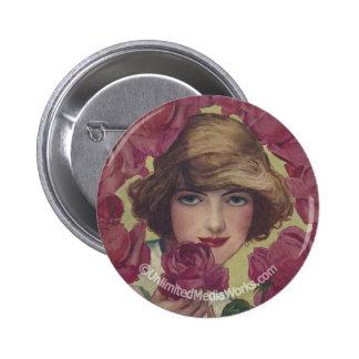 Vintage Rose Girl Button