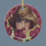 Vintage Rose Girl Ceramic Ornament