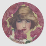 Vintage Rose Girl Classic Round Sticker