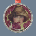 Vintage Rose Girl Metal Ornament