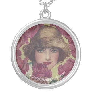Vintage Rose Girl Round Pendant Necklace