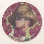 Vintage Rose Girl Round Paper Coaster