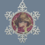Vintage Rose Girl Snowflake Pewter Christmas Ornament
