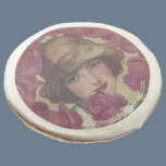 Vintage Rose Girl Sugar Cookie