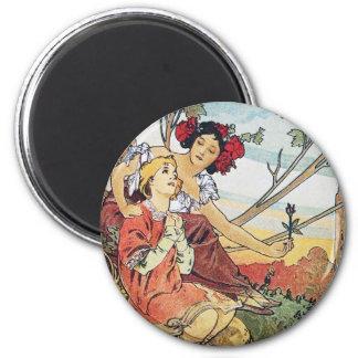 Vintage Rose Goddess 2 Inch Round Magnet