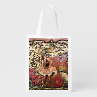 Vintage Rose Gypsy Dancer French Collage Reusable Grocery Bag