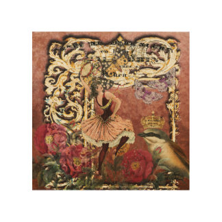 Vintage Rose Gypsy Dancer French Collage Wood Print